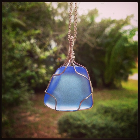 Wire Wrapped Ocean Blue Seaglass Pendant