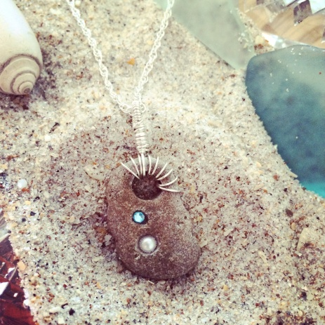 Beach Stone with Swarovski Pearl and Blue Crystal - Wire Wrapped Pendant