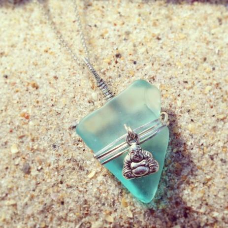 Turquoise Seaglass with Buddha