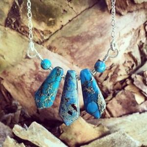 Blue Jasper Trifecta Necklace