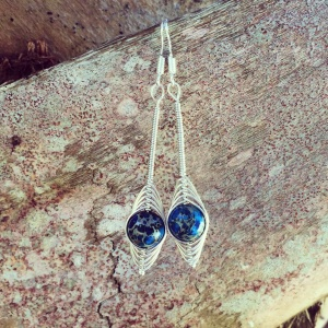 Blue Jasper Wire Wrapped Earrings