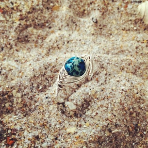Wire Wrapped Jasper Ring